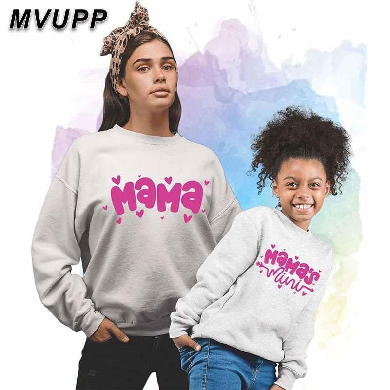 Winter lange ärmel pullover familie passenden sweatshirts gedruckt MAMA brief mutter und tochter outfits mama baby mädchen kleidung
