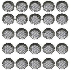 25 шт нержавеющая сталь яйцо Tart форма для выпечки, круглая рифленая дизайн с кексом формы для выпечки многоразовые металлические чашки для в...