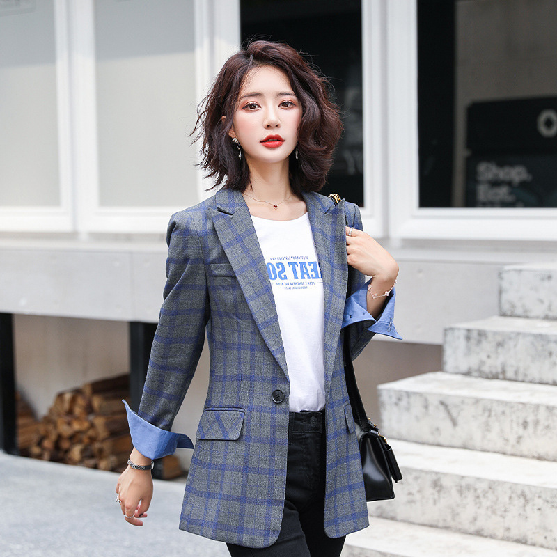 High-quality Fabric Women's Jackets Feminine 2020 Korean Version Of The New Casual Slim Ladies Plaid Blazer Female Small Suit