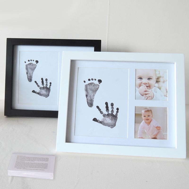 Baby HandPrint Footprint Photo Frame With Ink Pad Kit Baby Hand Foot Print Keepsake Newborn Baby Souvenirs HandPrint Baby Care