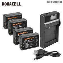 Bonacell 2200mAh LP-E10 LP E10 LPE10 Camera Battery+LCD Charger For Canon 1100D 1200D 1300D Rebel T3 T5 KISS X50 X70 Battery L50