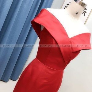 Image 3 - Robe de soirée en Satin, couleur arabe élégante, épaules dénudées, tenue de soirée élégante, style sirène, robe longue, grande taille, robe de bal dubaï