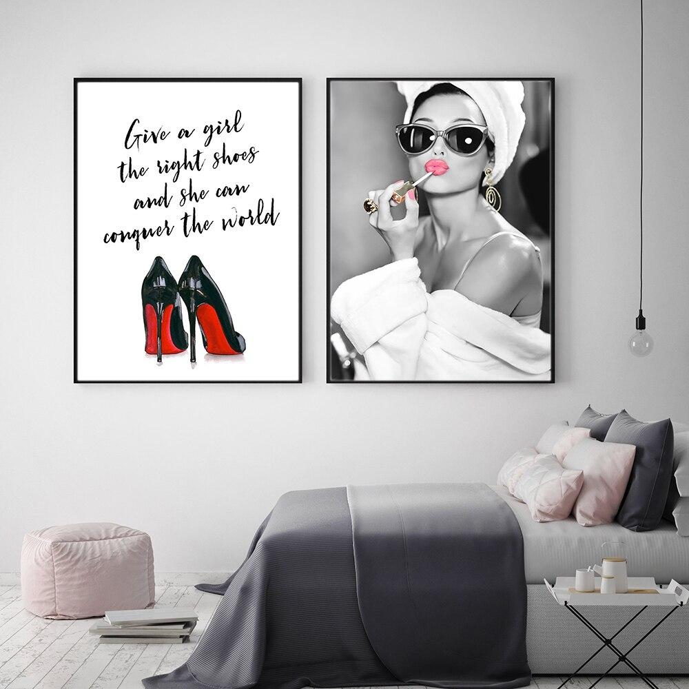 Clássico audrey hepburn potrait compõem posters modernos quadros da lona arte da parede alta helels imagem para o quarto decoração casa
