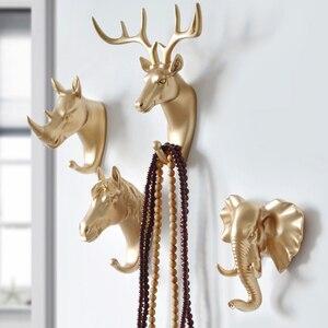 Moda hayvan şekilli kanca geyik Stags Rhino at zürafa fil kafa duvar askısı ceket şapka kanca raf tutucu ev dekor