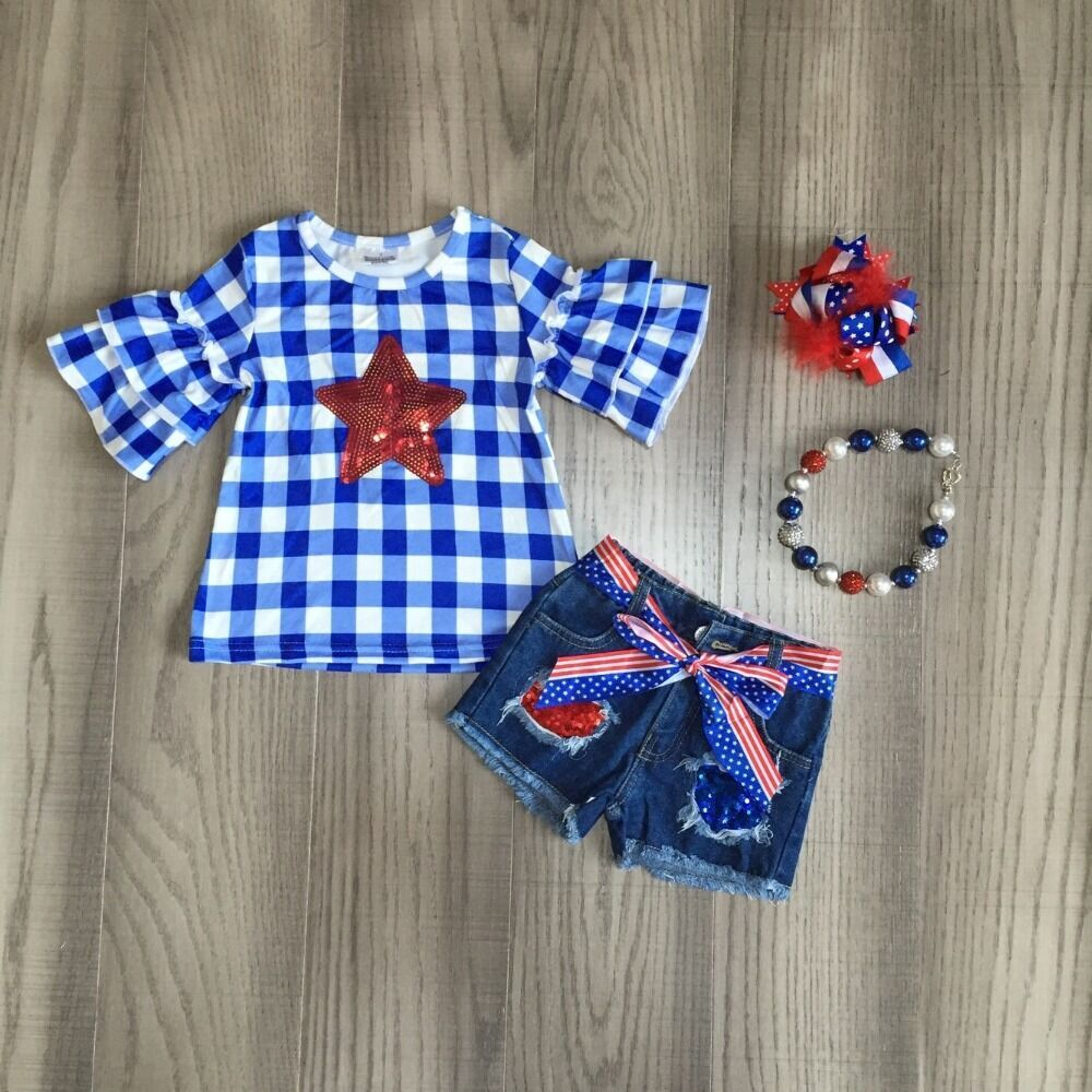 Baby Girls Ummer Clothes Kids July 4th Outfits Jeans Shorts Star Plaid Blue Top Girls Boutique Outfits With Accessories