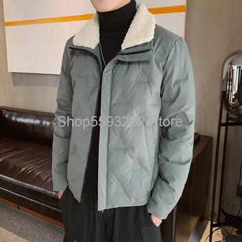 Cotton-padded men's 2020 Winter cotton-padded jacket trend lapel padded lambskin collar down cotton-padded jacket jacket фото