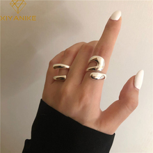 XIYANIKE 925 Sterling Silver High Sense Staggered Hollow Smooth Trend Irregular Curve Opening Ring Fashion Handmade Gift