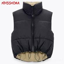 2021 jesienno-zimowa moda czarna krótka kamizelka płaszcz kobiety ciepłe bez rękawów parki kobiet kamizelka Casual Cotton odzież wierzchnia tanie tanio MNCCMOAA Zima Poliester CN (pochodzenie) Zamki Stałe Krótki Osób w wieku 18-35 lat Skręcić w dół kołnierz Na co dzień
