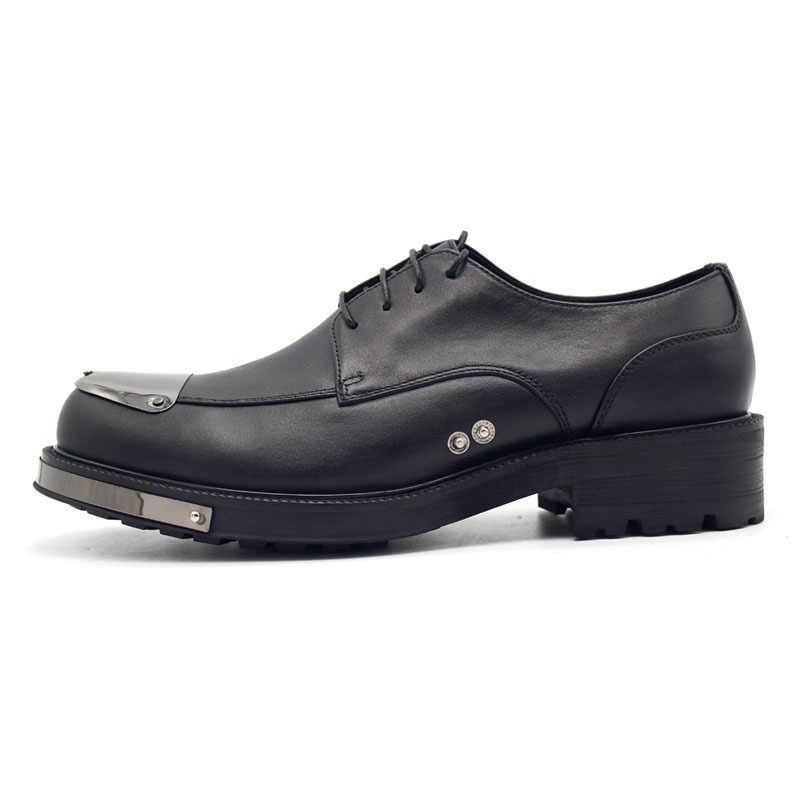 Nuevos zapatos de boda de cuero genuino zapatos de hombre de plataforma gruesa con cordones calzado de Hombre Zapatos de vestir de fiesta zapatos de hombre de lujo de talla grande US4.5-11.5