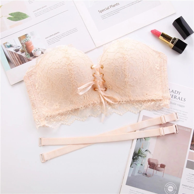 Women Drawstring Push Up Bras Sexy Lace Floral Padded Underwear Intimates Seamless Back Closure Lace Up Bra - 3