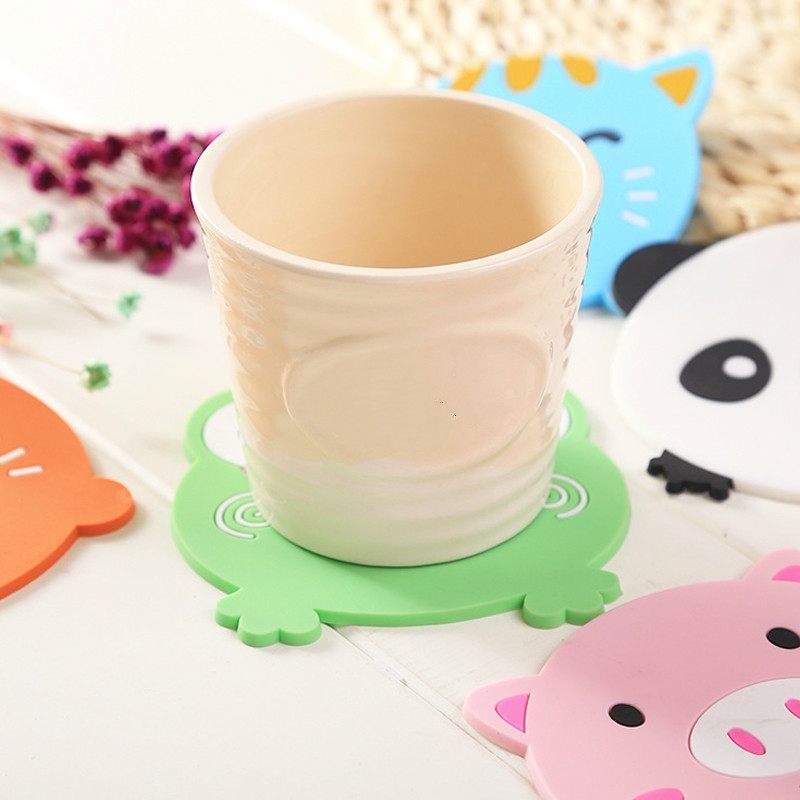 2 Pcs Cartoon Coasters For Hot Mike Coffee Silicone Cup Mat