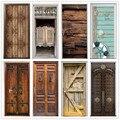 Ретро деревянные двери наклейки ПВХ водонепроницаемые обои для дверей гостиной спальни домашний декор росписи DIY Ремонт Наклейка 90х200см