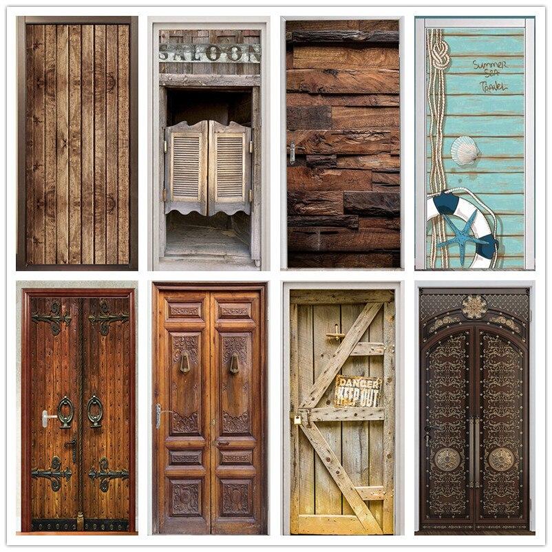Ретро деревянные наклейки на дверь ПВХ водонепроницаемые обои для дверей гостиной спальни домашний декор Фреска Сделай Сам обновленная на...