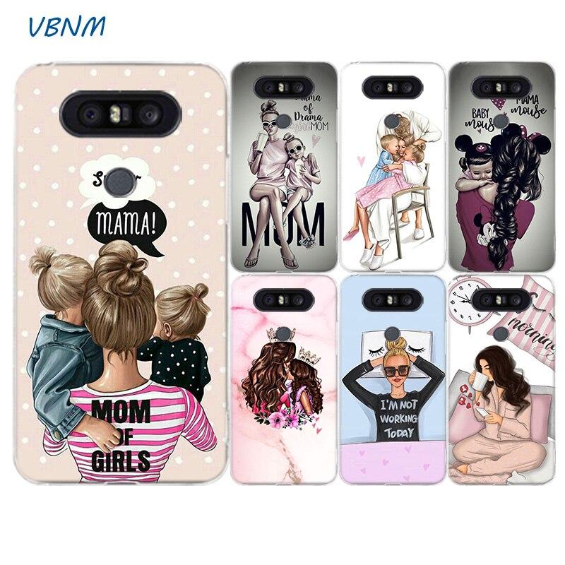 Baby Mom Girl Women Fashion Printed Silicone Case For LG G8S G7 G6 G5 G4 V40 V30 V20 V10 Q7 Q8 Q6 K8 K10 2018 2017 Cover