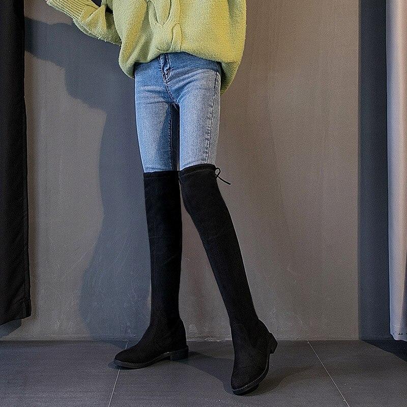 Asansör over the diz çizmeler 2019 kış yeni stil düz tıknaz topuk hortum ince çizmeler zayıflama çok yönlü kısa boy kadın çizme title=