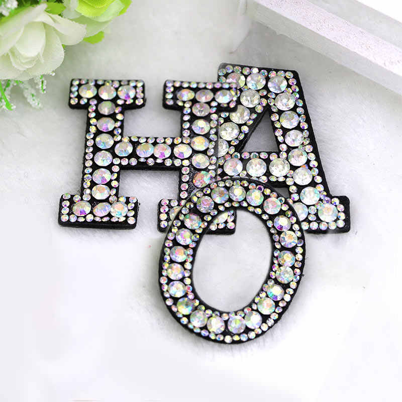 1Pcs Letters Hotfix Rhinestone Iron On English alphabet Patch For Women Clothing Bag Shoes Badge Crystals Applique Patches
