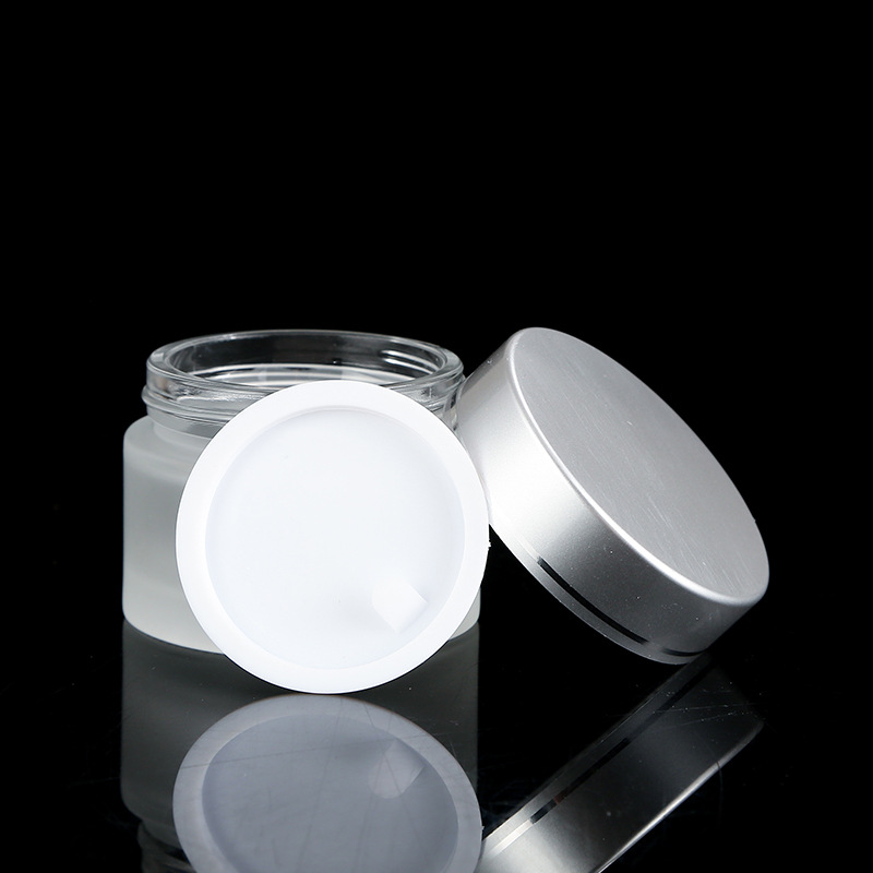 Frosted Glass Refillable Ointment Bottles Empty Cosmetic Jar Pot Eye Shadow Face Cream Container 5/10/15/20/30/50/100g-3