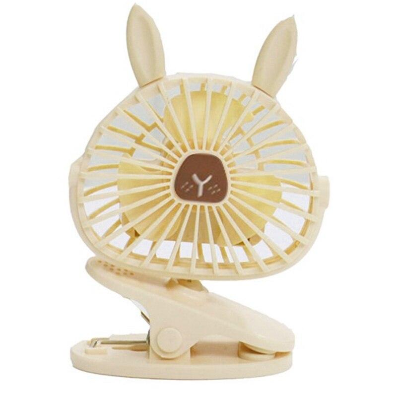Linda luz LED nocturna con forma de conejo USB carga portátil Mini ventilador de refrigeración verano enfriador Oficina estudio exterior viaje decoración blanca