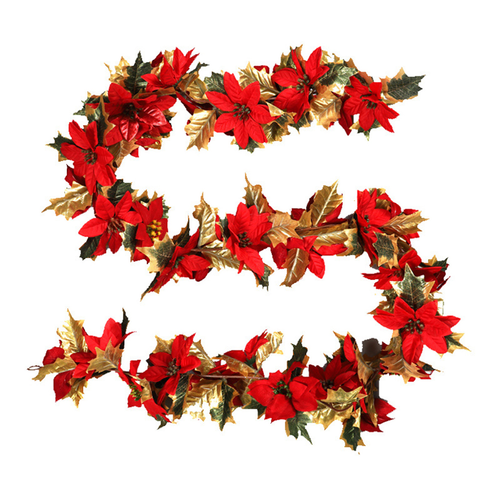 Flower Home Decor Red Artificial Flowers Holiday Decoration Christmas Door Decoration Rattan Christmas Flower Phnom Penh Leaves