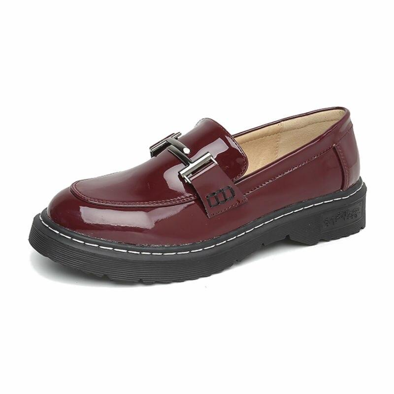 Grande taille 42 43 printemps bateau chaussures femmes PU chaussures plates 2019 nouveau été dames chaussures Preppy Style femmes chaussures plates décontracté noir chaussures