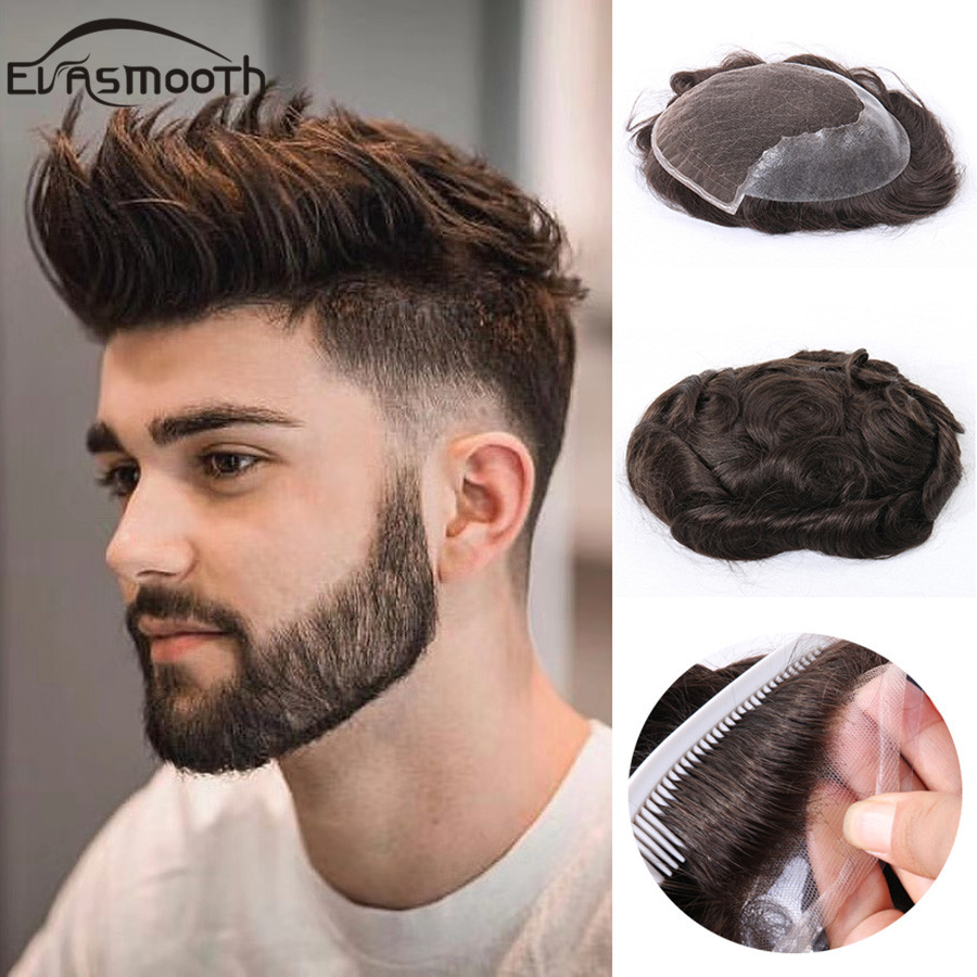 Q6 Men Toupee Lace Front Wig Real Human Hair Wig Natural Hairline Male Wigs Men Hair Prosthesis Replacement System Fast Shiping