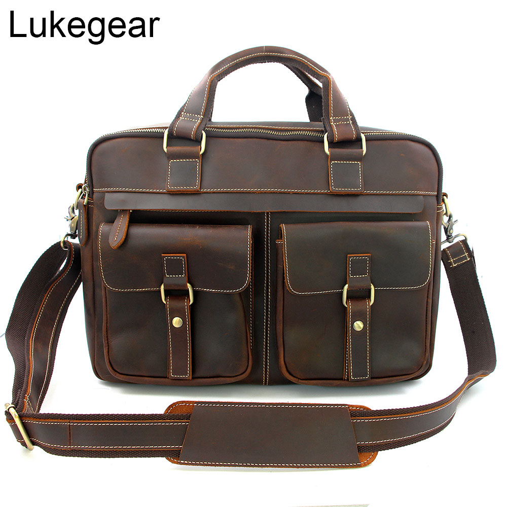 Lukegear Genuine Leather Computer Bags For Men Laptop Briefcase Retro Durable Unisex Computer Pack