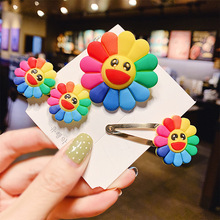 3pcs/set Girl Hair Accessories Cute Clip Candy Color Sunflower Elastic Bands Happy Outside