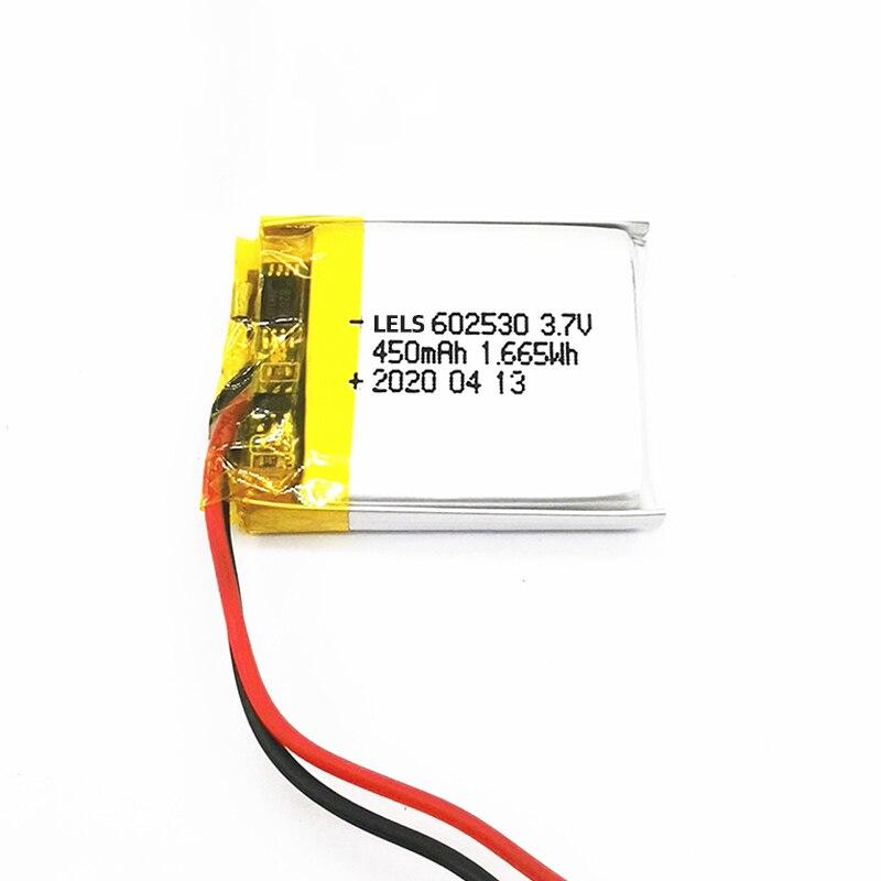 602530 3.7v 450mah 3.7v bateria recarregável do polímero do íon do lítio, apropriado para mp4 mp5 gps psp relógio inteligente que conduz o gravador