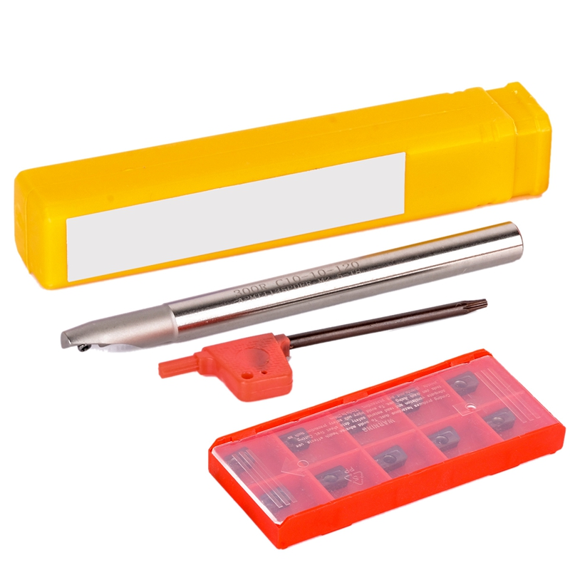 10Pcs Apmt1135Pder Carbide Inserts + 1Pc Bap 300R C10-10-120 Tool Holder With Wrench For Cnc Milling Turning Tools