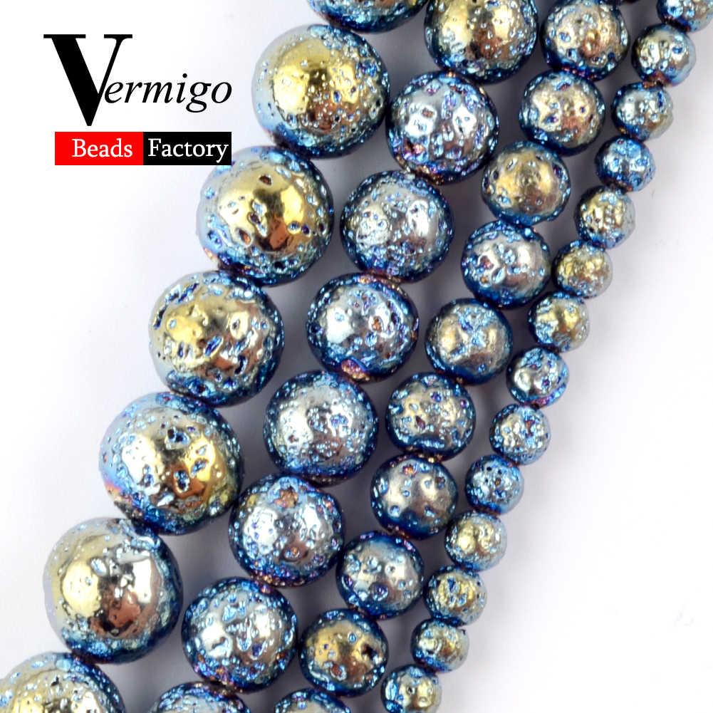 """Naturalne Multicolor Lava hematyt kamień okrągły koraliki do tworzenia biżuterii naszyjnik diy bransoletka Spacer luźne koraliki 4mm-10mm 15"""""""