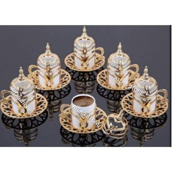 TURKISH COFFEE GOLD PATTERN 6 Personality 24 PIECES PORCELAIN COFFEE CUP SET