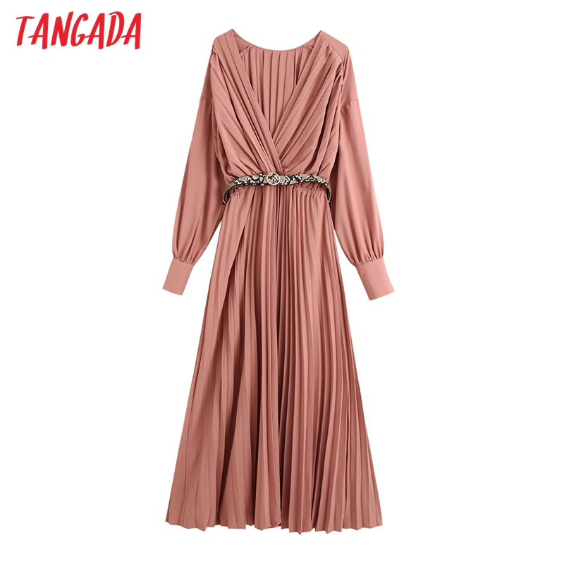 Tangada 2020 Autumn fashion women elegant pleated dress with leopard belt v neck long sleeve office ladies long dress BE898
