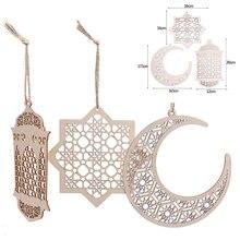 Eid mubarak pingente de lua, pingente de madeira de lua oca, artesanato faça você mesmo, decoração para festa, festival islâmico, lembrança da festa