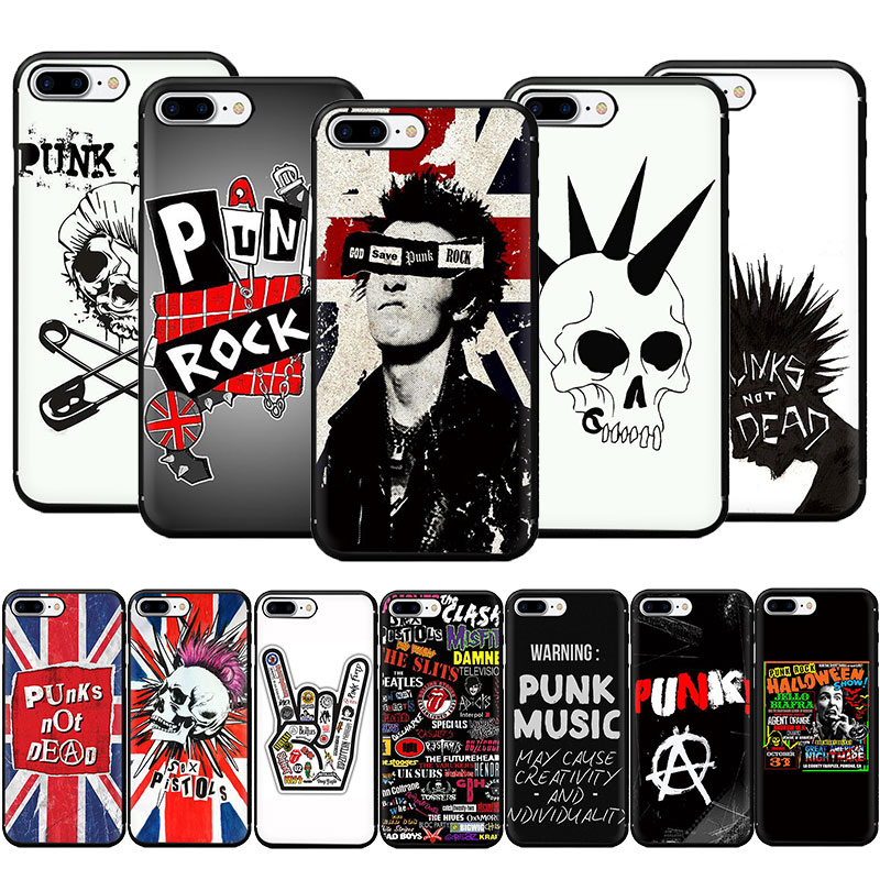 Punk Rock Weiche TPU Telefon Fall für <font><b>iPhone</b></font> 11 Pro 5 5s 6 6s 7 <font><b>8</b></font> <font><b>Plus</b></font> X XR XS MAX image