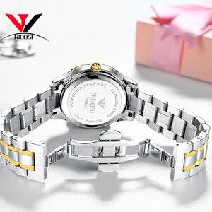 Image 5 - Reloj de regalo moderno de cuarzo estilo de cámara único serie fotógrafo NIBOSI correa de acero inoxidable para mujer