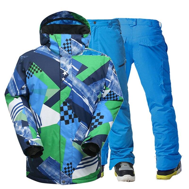 Mode hommes bleus vestes de Ski et pantalon de neige sports de plein air snowboard costume 10 imperméable coupe-vent Ski vêtements ensembles