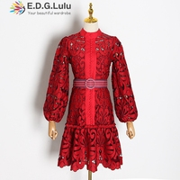 EDGLuLu red lace runway dresses 2019 women high quality vintage elegant o neck mini puff sleeve dress women two piece outfits