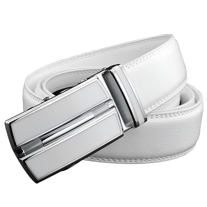 White Plus Size Men Leather Belt 130 140 150 160cm Real Cow Genuine Leather Automatic Buckle Width Men Waist Straps for Jeans