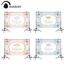 Allenjoy 친교 배경 작은 공주 왕자 꽃 핑크 1 생일 베이비 샤워 Photophone 배경 Photozone