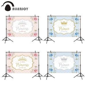 Image 1 - Allenjoy cemaat zemin küçük prenses prens çiçekler pembe 1st doğum günü bebek duş Photophone arka plan Photozone