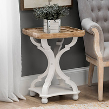 Mesa de campo de estilo francés, mesa de té Vintage, mesa de noche, bandeja, mesa de salón, mesa de café, libros, muebles