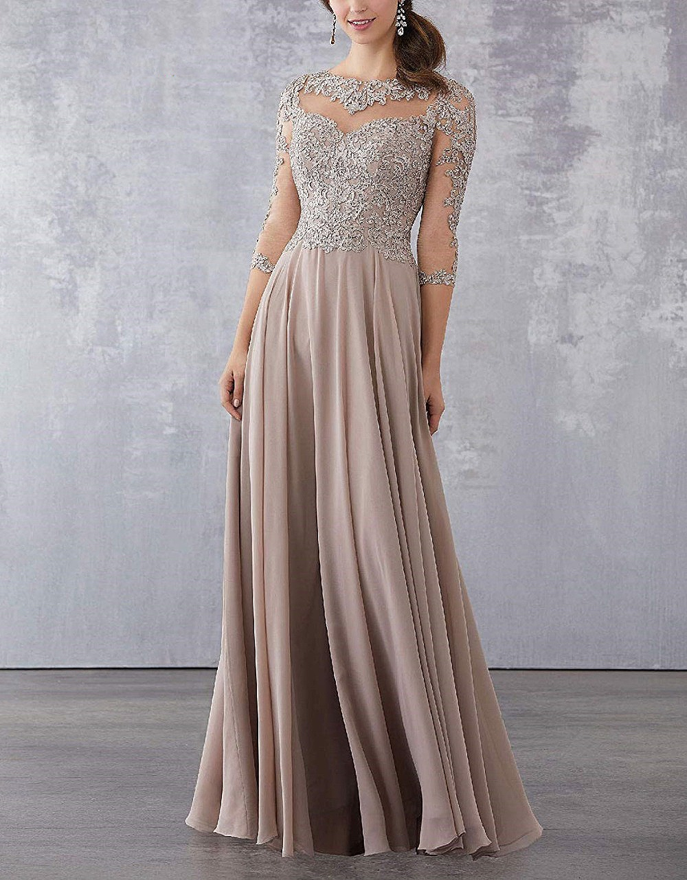 Lace Beaded Long Mother of the Bride Dresses 2020 Elegant 3/4 Sleeve Evening Mother Dress Chiffon Wedding Party Guest Gowns New