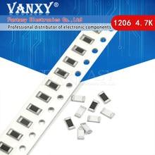 100 pçs 1206 smd resistor 1% 4.7k ohm chip resistor 0.25w 1/4w 4k7 472