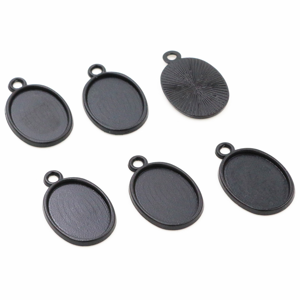 10pcs 13x18mm Inner Size Black Simple Style Cameo Cabochon Base Setting Charms Pendant Necklace Findings  (D2-56)