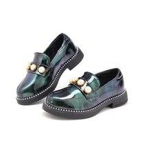 Girls leather shoes kids wedding shoes black white dress princess leather fashion kids flat school shoes
