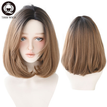 7JHH Blonde Middle Part Synthetic Lolita Wig For Women 2 Tone Ombre Black Brown Wigs Heat Resistant Short Straight Bob Wig wignee 3 tone ombre women wig black to brown blonde middle part heat resistant synthetic wigs cosplay hair for african american