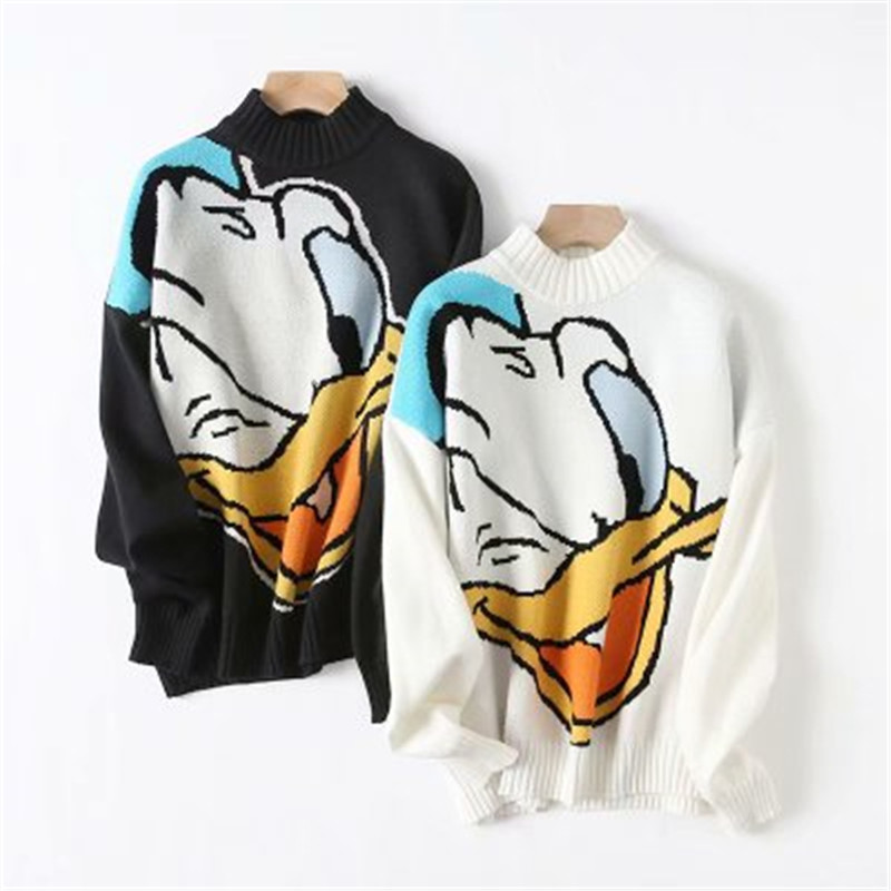 Daisy Duck Sweater Women Long Sleeve O Neck Loose Jumper Tops Ladies Jumper Sweater Female Knitted Top Women Pullover Sweater
