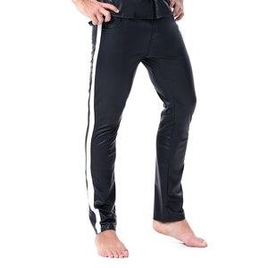 Image 3 - Erkekler seksi şerit Faux deri Lingerie egzotik pantolon PU lateks Catsuit fermuar kasık PVC Clubwear eşcinsel fetiş pantolon tayt zentai
