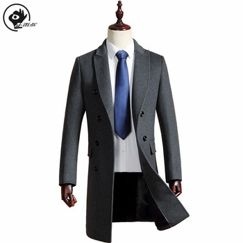 Little Raindrop Mens Overcoat Thick Warm Coats Pocket England Style Jacket M-3XL Double-breasted Lapel Trench Long  Winter Coat