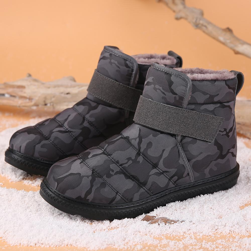 Men Boots High Quality Waterproof Plus Size Men Ankle Snow Boots Shoes Warm Fur Plush Hook & Loop Man Winter Shoes Footwear